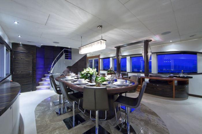 BLUE MAMBA yacht dining