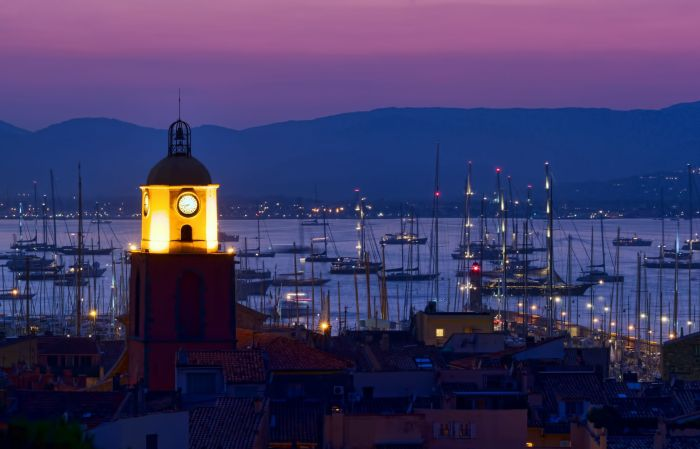 Dusk over citradel and port of St Tropez