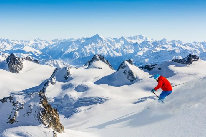 Skiier in Chamonix, France