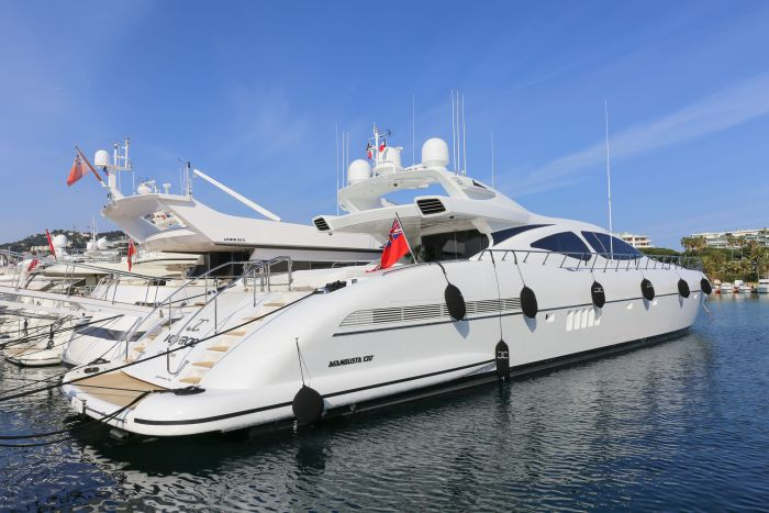 Mangusta 130 yacht for charter in Port Canto, Cannes, France