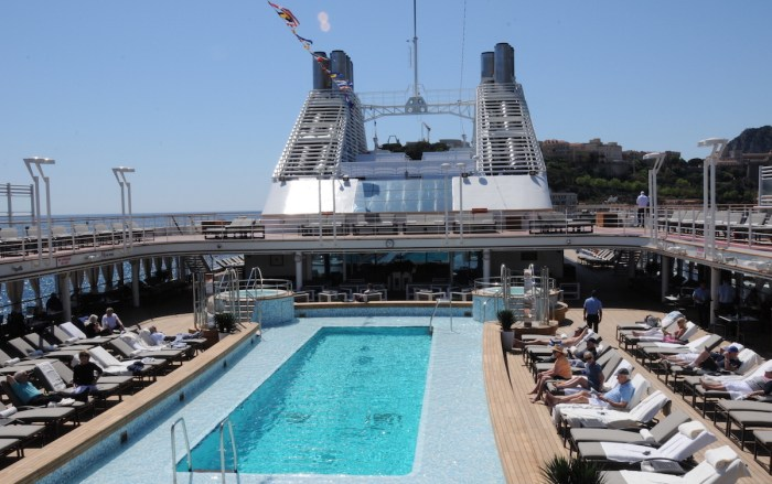 The pool on Silver Muse in the port of Monaco