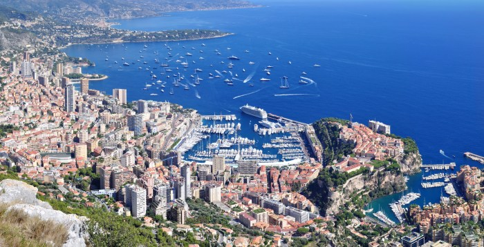 Aerial view of the Monaco Yacht Show