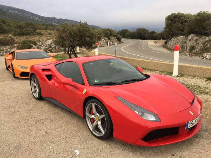 Ferrari and Lamborghini cars in southern France