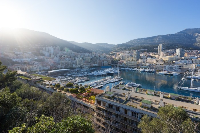 View over Port Hercule from Le Rocher in Monaco