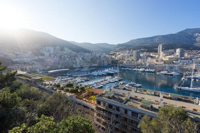 View over Port Hercule from Le Rocher in Monaco