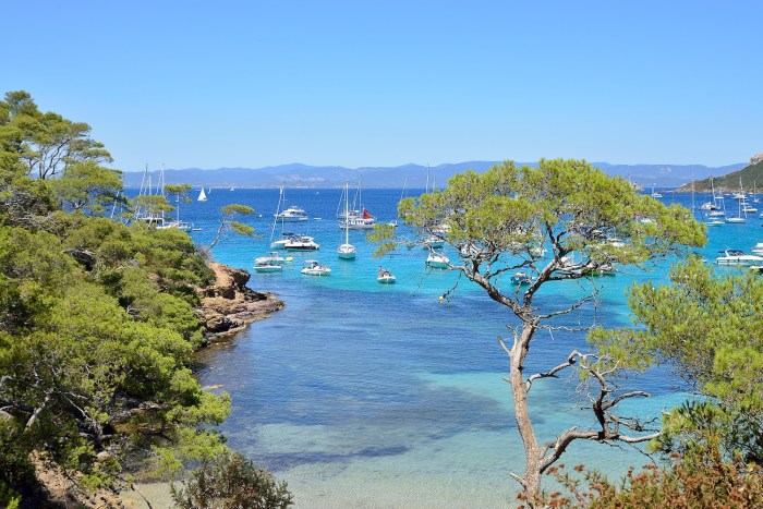 Yachts at anchor on Porquerolles island, France