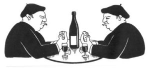Frenchmen tasting wine