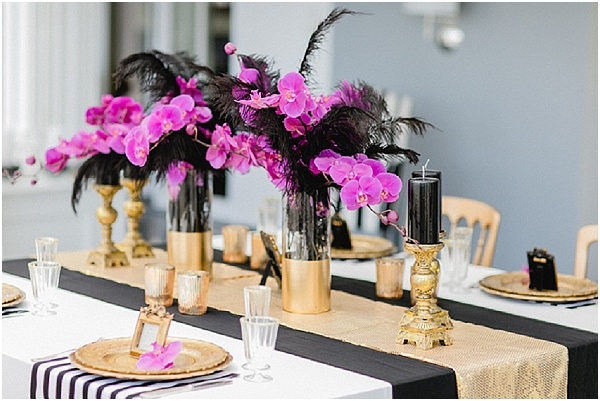 Opulent Black And Gold Wedding Ideas With A Pop Of Pink