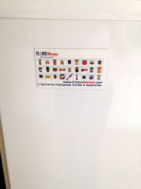 Le magnet FrancoMarket sur notre frigo :-)