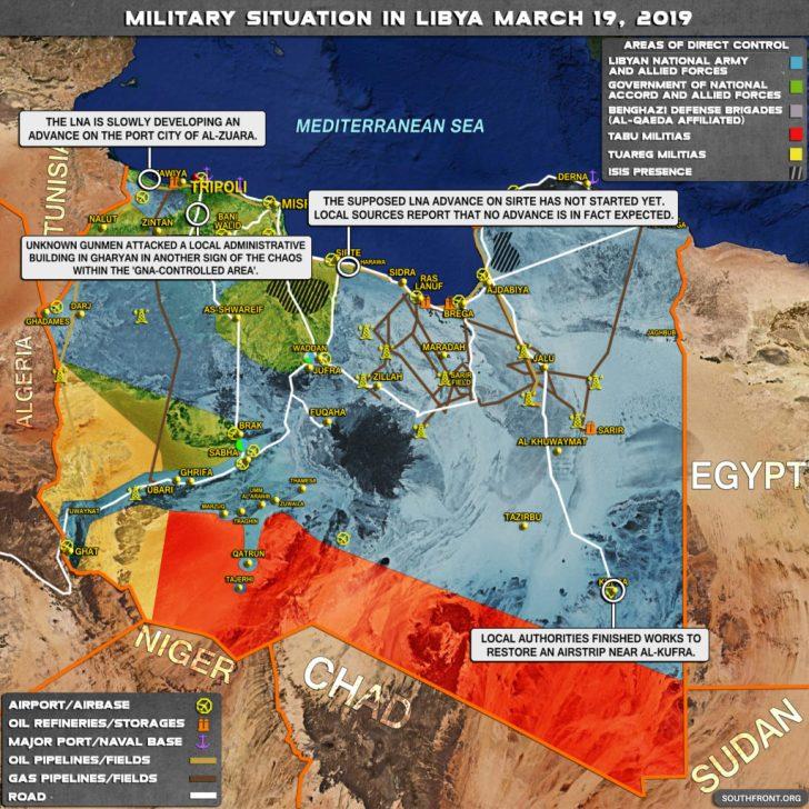 Mapa relativo ao caos, terrorismo e desagregação injectados na Líbia