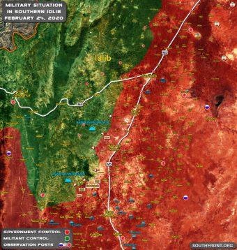Mapa da região sul da Grande Idlib, neste momento alvo das ofensivas sírias e russas