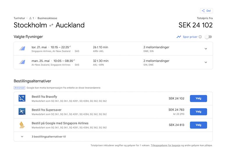 Stockholm til Australia og NZ