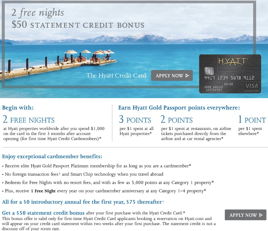 """2 Free Nights, $50 Statement Credit, Annual Fee Waived"""