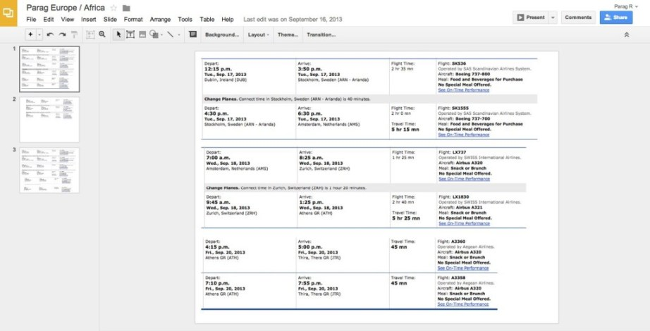 """Google Spreadsheet For Flights"""