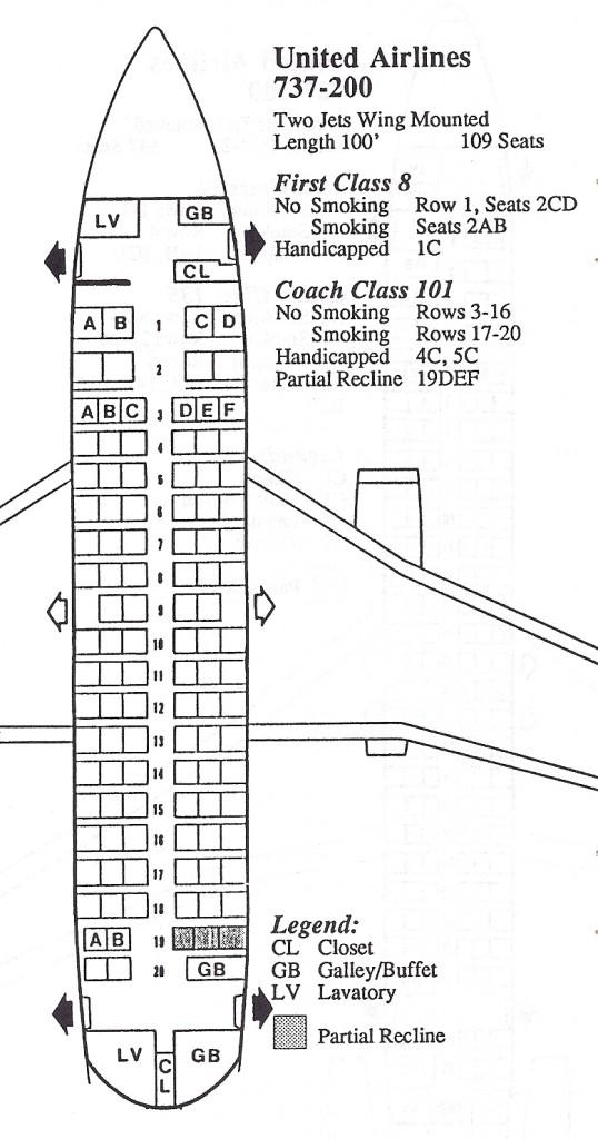 Vintage Airline Seat Map: United Airlines Boeing 737-200