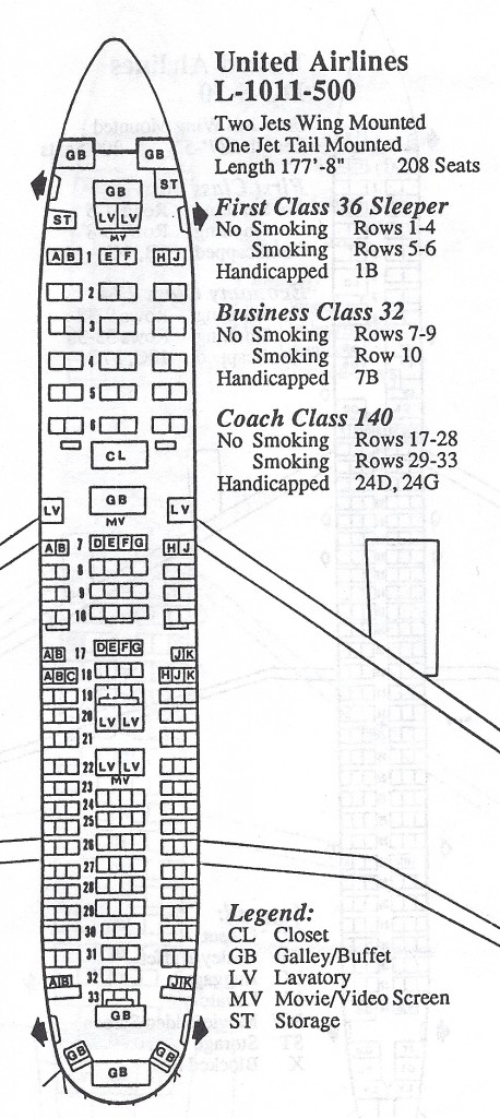 Vintage Airline Seat Map: United Airlines L-1011-500