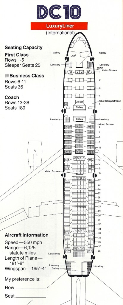 Vintage Airline Seat Map: American Airlines International