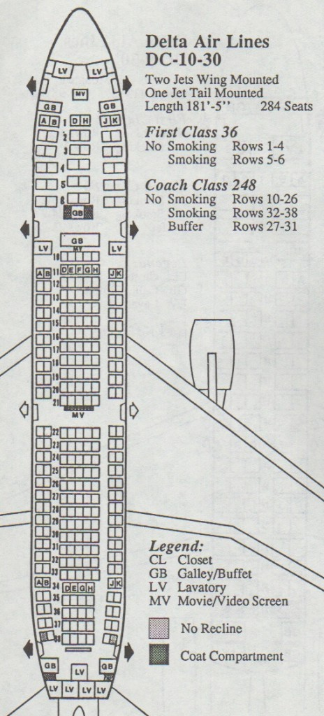 Vintage Airline Seat Map: Delta Air Lines DC-10