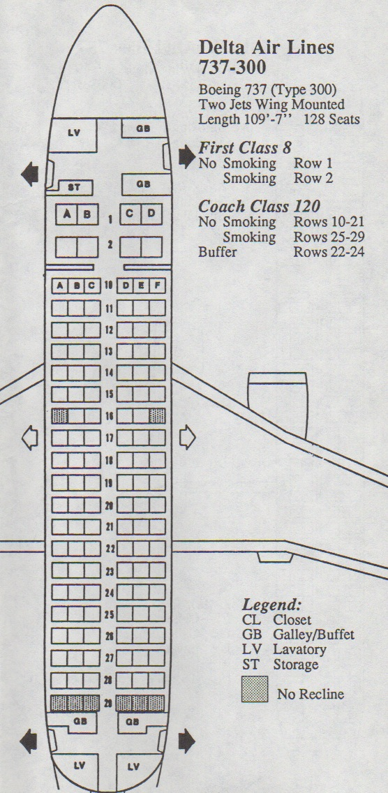 Delta Air Lines Boeing 737-300 Seat Map
