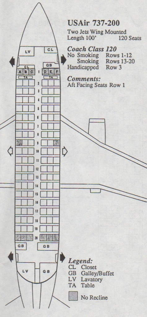 Vintage Airline Seat Map: USAir Boeing 737-200