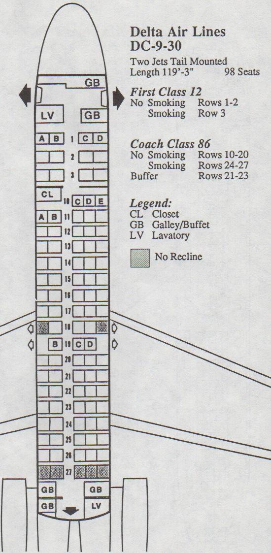 Vintage Airline Seat Map: Delta Air Lines DC-9-30