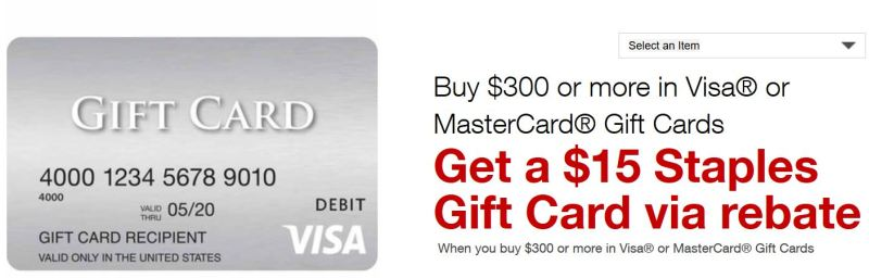 staples rebate actually a visa gift card 300 in or - 15 Visa Gift Card
