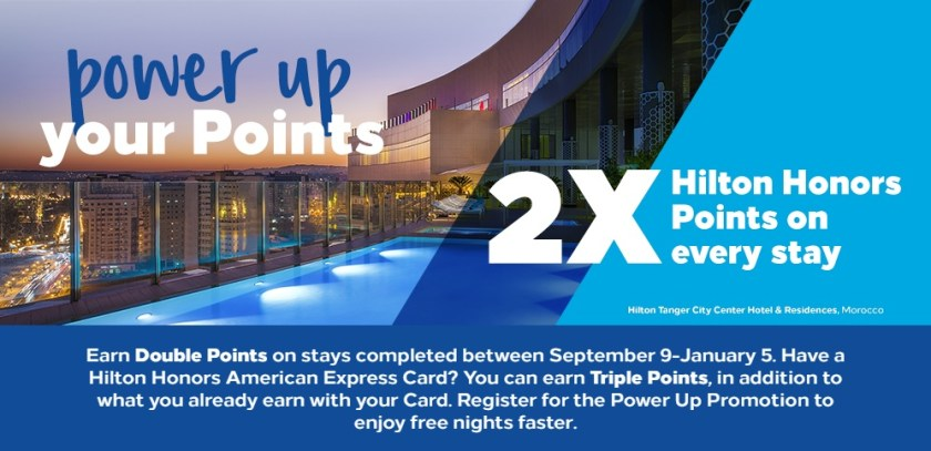 Hilton Q4 2019 promo - earn double points between Sept 9-Jan 5, or triple points if you have a Hilton Amex Card.