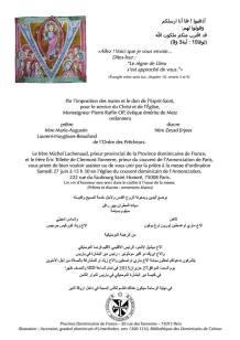 Faire-part de l'ordination en français et en arabe.