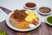 CHILAQUILES W/ EGGS & MEAT