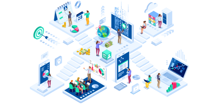 People working online on multiple different physical, connected platforms, representing how people collaborate in virtual workspaces and conduct great virtual workshopa.