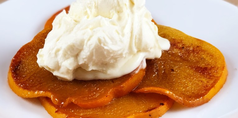 Caramelized Persimmon with Sweet Vanilla Mascarpone