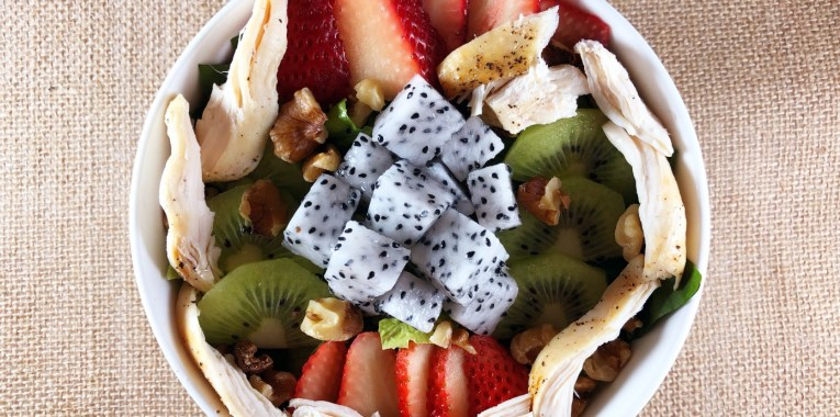 Strawberry Kiwi and Dragon Fruit Salad