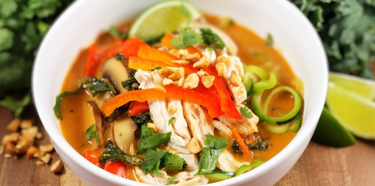 Red Curry and Peanut Zoodle Ramen with Chicken