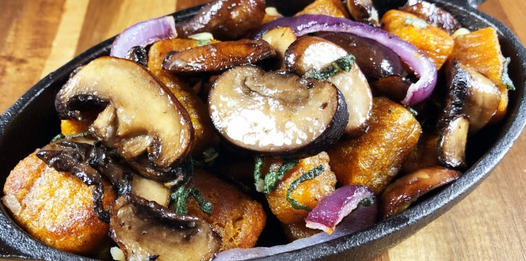 Sweet Potato Gnocchi with Mushrooms and Sage Garlic Sauce