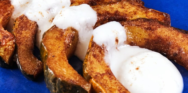Sweet Roasted Acorn Squash with Spiced Coconut Cream