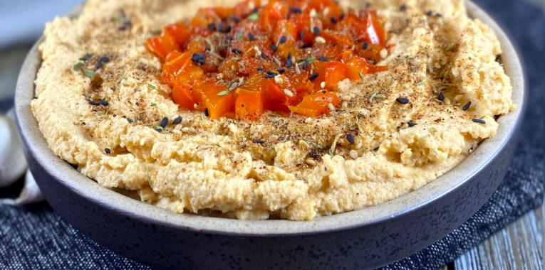 Roasted Cauliflower and Red Pepper Hummus