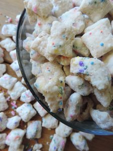 Cake Batter Puppy Chow: a fun twist on the classic.