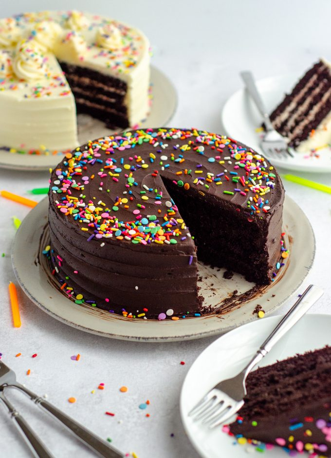 chocolate layer cake with chocolate frosting and rainbow sprinkles with a slice taken out of it