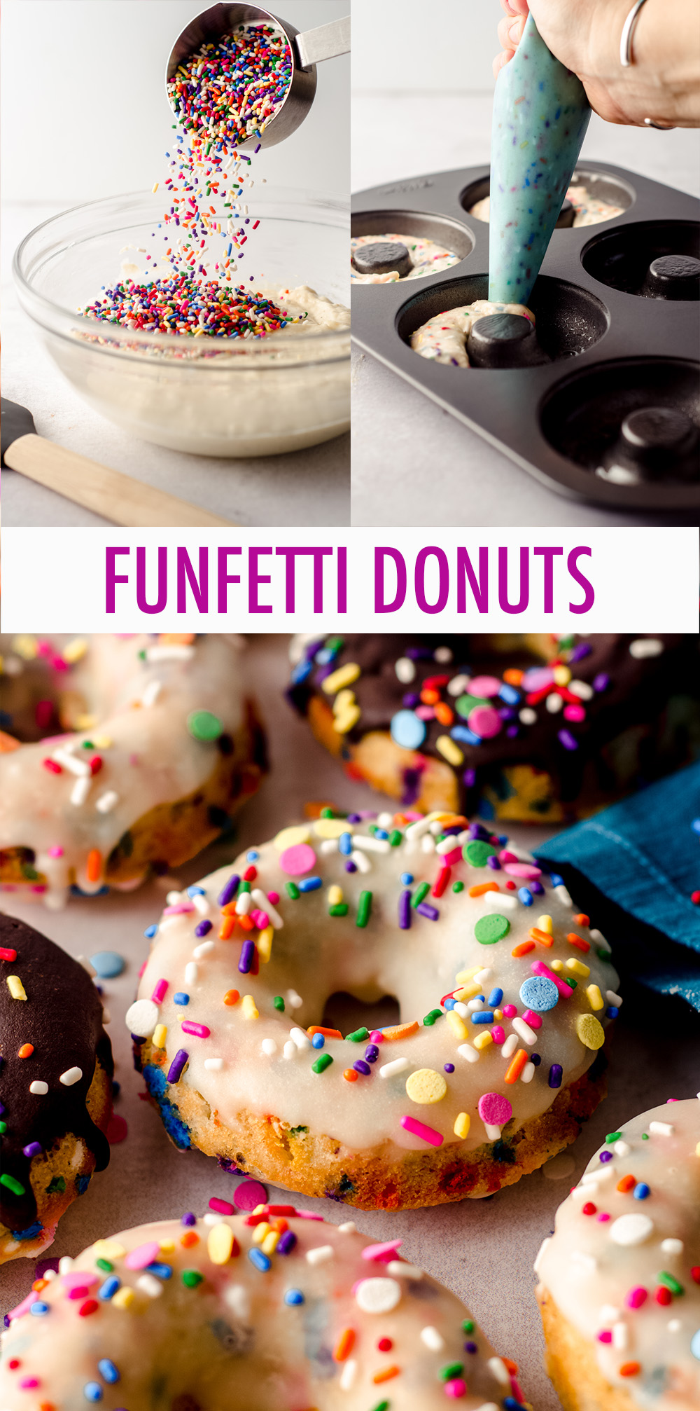 Baked and not fried cake donuts filled with sprinkles and topped with a simple vanilla or chocolate glaze.