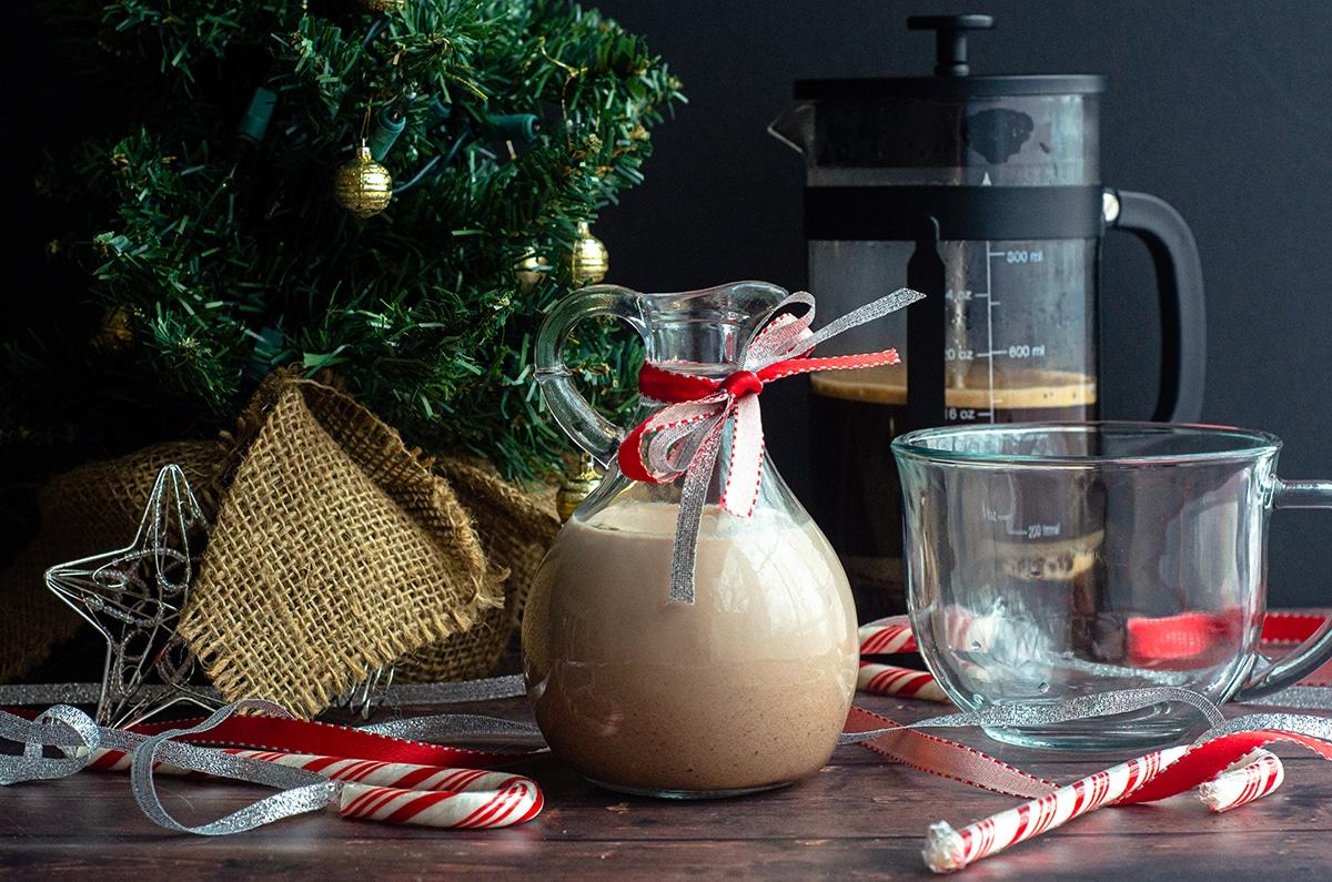 peppermint mocha coffee creamer in a pourer