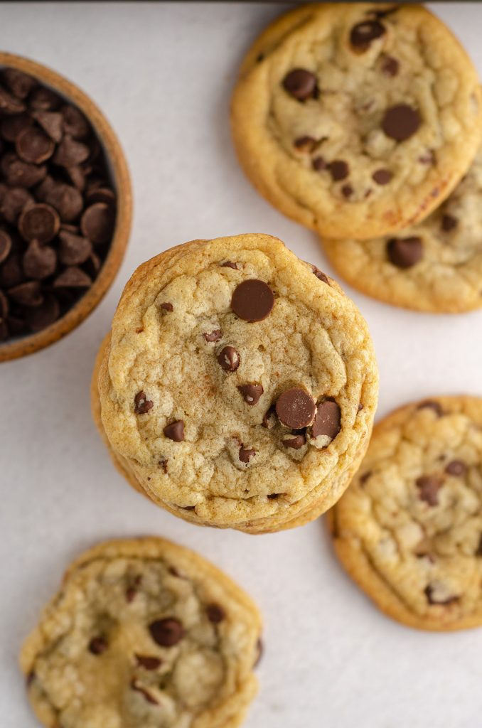 aerial photo of a gathering of chocolate chip cookies