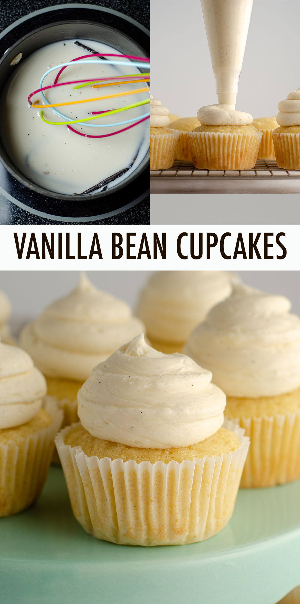 A moist and tender basic vanilla cupcake made extra flavorful with vanilla bean infused cream. Topped off with vanilla bean buttercream, these cupcakes are vanilla heaven!