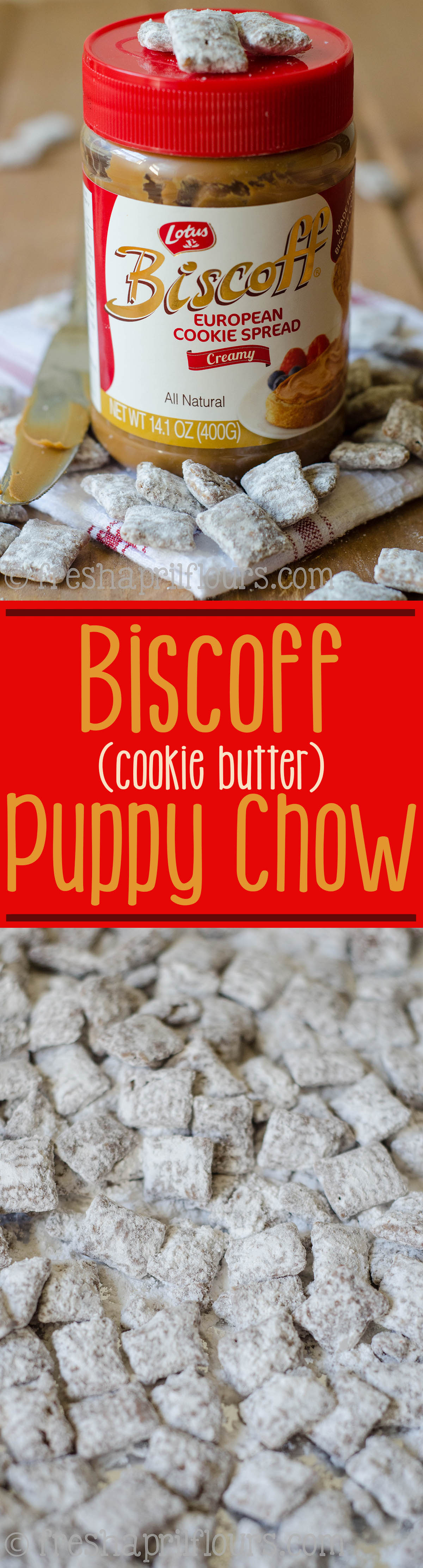 Biscoff (Cookie Butter) Puppy Chow: An easy recipe for puppy chow made with Biscoff cookie spread.