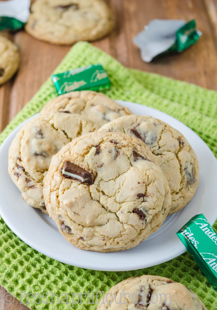 Andes Mint Cookies: Easy brown sugar cookies filled with chopped Andes mints. No chilling, no rolling, and ready to eat in less than 30 minutes!