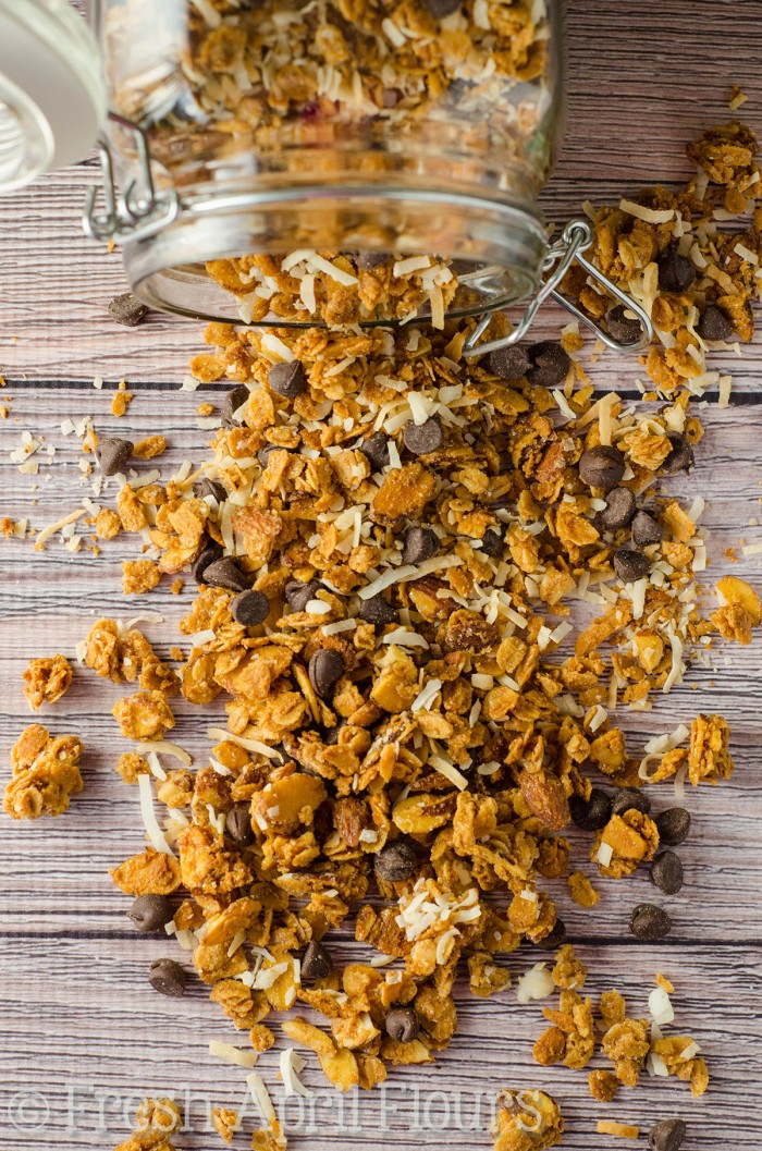 Almond Joy Granola: Crunchy and wholesome homemade granola full of almond, coconut, and chocolate flavors.