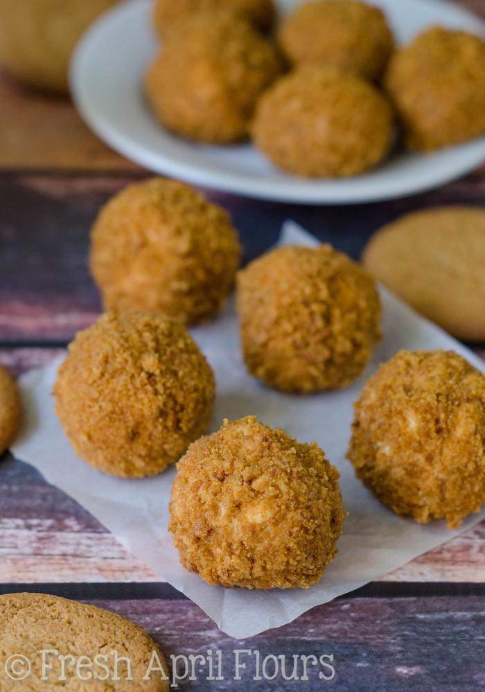 Gingersnap Cheesecake Bites: Easy, no bake cheesecake bites, rolled in a spicy gingersnap cookie coating.