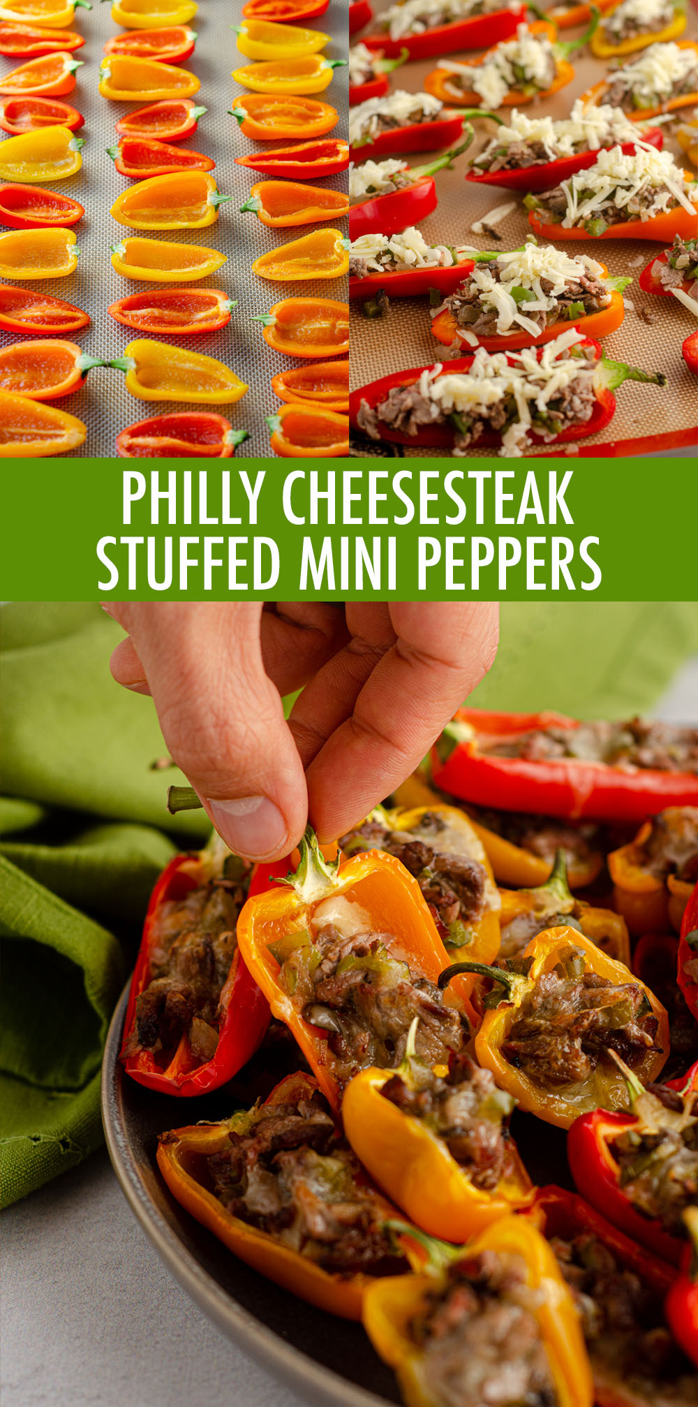 """Don't let the """"mini"""" part fool you-- these bite-size peppers are packed with tons of flavor! Recipe includes instructions for four large Philly cheesesteak stuffed peppers."""