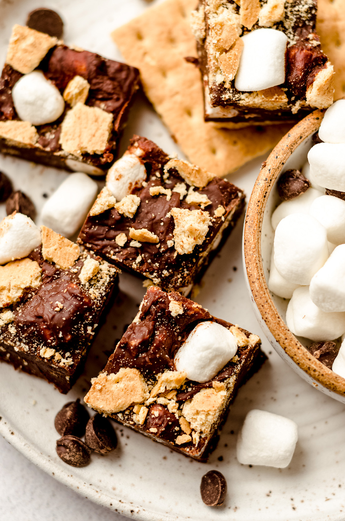 aerial photo of s'mores fudge on a plate