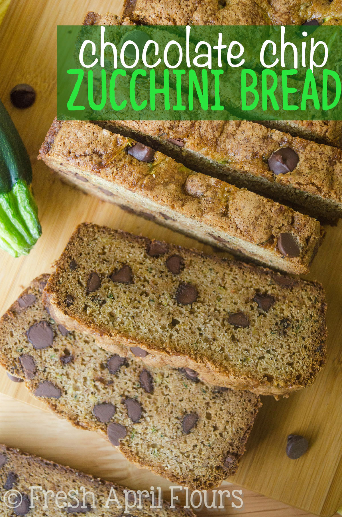 Chocolate Chip Zucchini Bread: Perfectly spiced, perfectly sweetened, and a great way to use up your summer zucchini (or frozen zucchini any time of the year)! Recipe makes one loaf or 12 muffins.