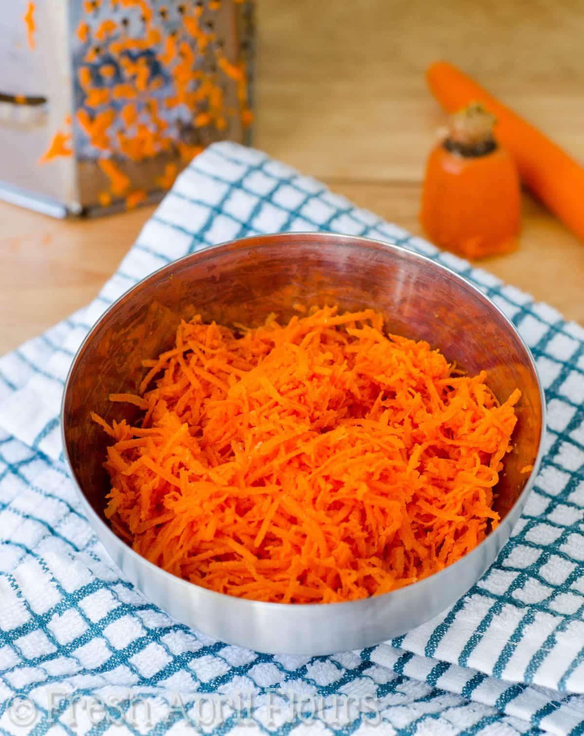 bowl of shredded carrots